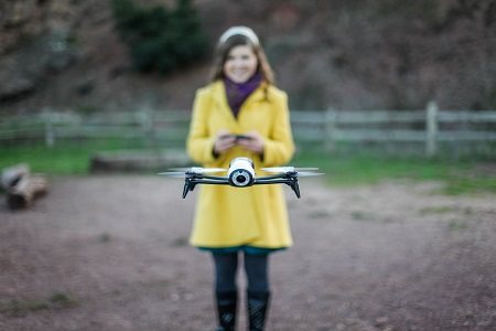 Girl flying her drone.